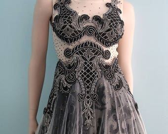 Clearance US4 - Stunning A-Line Gothic Black Lace Wedding Dress with Cathedral  Train