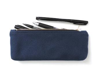 Canvas Pencil Case Zipper Pencil Pouch Navy Blue
