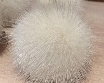 Recycled Fur Pom Pom - 2-Inch Violet Mink Pom Pom - Detachable