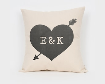 "Custom Heart 16"" Pillow, Printed Pillow, Unique Wedding Gift, Custom Anniversary Gift, Gift for Couple, Engagement Gift, Rustic Home Decor"