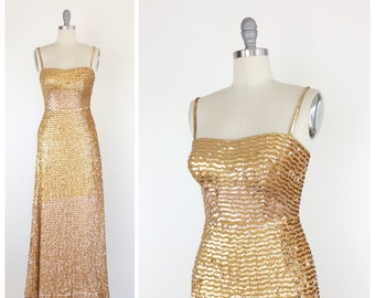 60s Gold Sequin Evening Gown / 1960s Vintage Long Burlesque Party Dress / Medium / Size 6