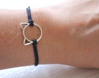 Cat bracelet, cat jewellery, cat lover gift, gift for cat lover, cat lady, cord bracelet, cat charm, cat jewelry, kitten bracelet, cat lover