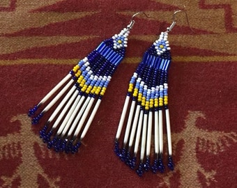 Porcupine Quill Earrings, Long Seed Bead Earrings, Quill Seed Bead Earrings, Native American Indian Inspired Beaded Jewelry