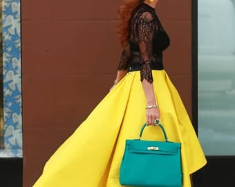 Alice Skirt - Bright Yellow Ultra Versatile Voluminous Full Ball Gown Skirt with Pleats and Pockets