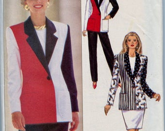 1990s Color Block Jacket Skirt & Pants Pantsuit Sewing Pattern Butterick 5802 Bust 34 36 38 UNCUT Womens Sewing Patterns Business Career