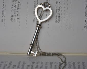 Vintage Sterling Key Pendant - 1980s Silver Key Necklace