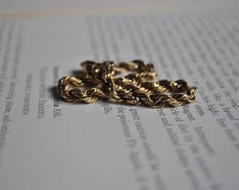 "Vintage 14k Gold Rope Bracelet - 1970s Italian Yellow Gold Bracelet, 8.5"""