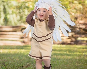 Baby American Indian Romper, 100% cotton, Handmade, Native American, Dress up, Infant, Birthday, Halloween, Pocahontas, 6 months - 6 years