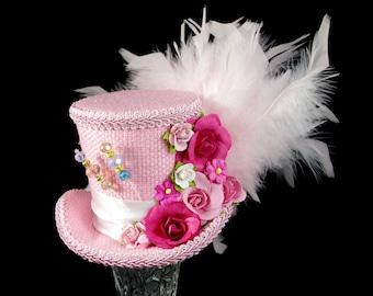 Light and Dark Pink Paper Flower Medium Mini Top Hat Fascinator, Alice in Wonderland, Mad Hatter Tea Party, Derby Hat