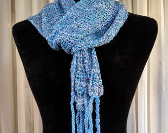 Hand-woven lacy mesh light-weight scarf blue and gray   loose woven lace scarf   blue leno lace scarf   light woven scarf   blue woven scarf