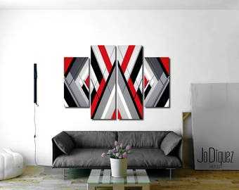 "Original geometric painting. Red, black grey and white painting. Abstract art 54x36"" Large painting. 4 piece canvas art. Big living room art"