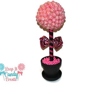 Pink and Black Zebra Lollipop Topiary, Zebra Candy Centerpiece, Sweet 16 Decor, Baby Shower Candy, Bridal Shower Centerpiece, Birthday