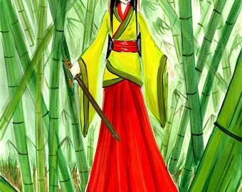 Bamboo Warrior Print, Print, Warrior Girl Art, Warrior Girl Print, Chinese Warrior Print, Chinese Warrior Art, Chinese Girl Print,