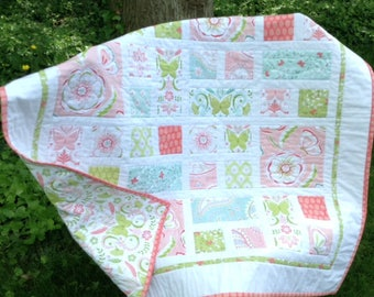 BELLA BUTTERFLY Quilt in pinks, greens aquas Ready to Ship 40x40