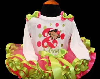 2nd Birthday tutu outfit girl, mod monkey birthday outfit, second birthday tutu set, toddler tutu 2nd birthday outfit, personalized, monkey