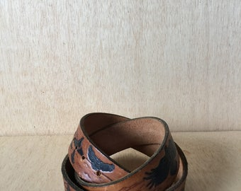 1970's Hand Tooled Leather Canada Souvenir Brown Belt BC British Columbia Whales Eagles Birds Ocean