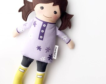 Brown Haired Fabric Doll - Purple tunic + rubber boots | Baby Doll | Cloth Doll Rag Doll
