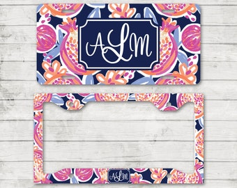 Lilly Inspired Monogram License Plate Frame Cover Holder Front Car Tag Personalized Custom License Cute Car Accessories Pomegranate Print