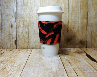 CLEARANCE / Fabric Coffee Cozy / Pepper Coffee Cozy / Chili Pepper Coffee Cozy / Coffee Cozy / Tea Cozy
