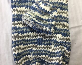 Newborn Cocoon and Hat: Blue, Gray and White