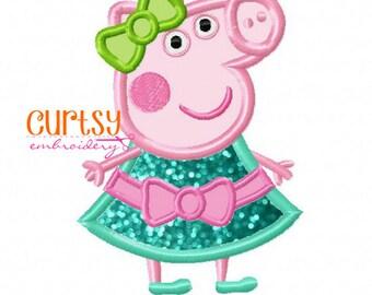 Pig Embroidery Design, Piggy Applique Design, Pig Applique Design