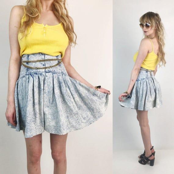 80's Acid Wash High Waist Denim Mini Skirt XS - VTG Light Wash Jean Skirt Size 3 - Flouncy Western Skirt High Drop Waist Basque Waist