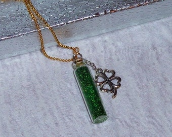 Emerald Isle Glass Vial Necklace.  Good Luck Charm.  St. Patrick's Day. Ireland