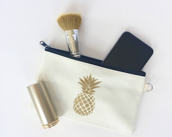 Small zippered pouch, pineapple pouch, zippered pouch, bridesmaid gift, travel makeup bag, small beach bag, canvas pouch, toiletry bag