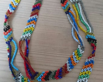 Vintage rainbow seed bead necklace