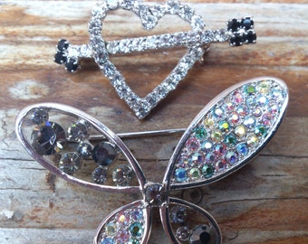 two vintage sparkly rhinestone brooches