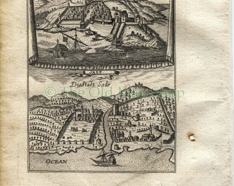 """1719 Manesson Mallet """"Tanger, Sale"""" Tangiers, Salé, Rabat, Morocco, North Africa, Ships, Port View, Antique Print"""