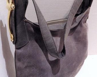 1980s Gray Suede Shoulder Bag Susan Gail Hobo Satchel Brass Bit Equestrian