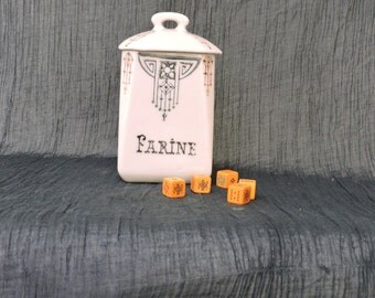 French Ceramic Kitchen Canister - Old Farine/Flour Pot - French Kitchen Storage/Decor - Vintage Ceramic Kitchen Food Container