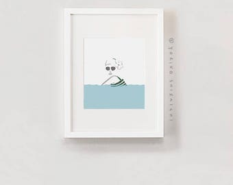 "Swimmer/Bather print | 8"" x 10"" image area on 8.5""x 11"" paper 