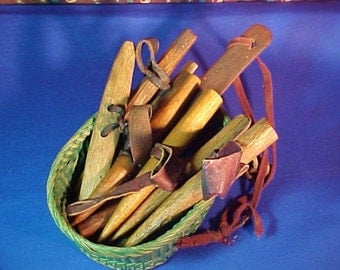 Antique Corn Husking Pegs, Collection, Primitive Folk Art, Hand made, Treen