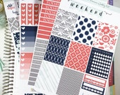Floral Ikat Coral Gray Mint and Navy Premium Weekly Kit Stickers / Coral Navy Weekly for  Erin Condren  / Weekly Functional Kits / Washi