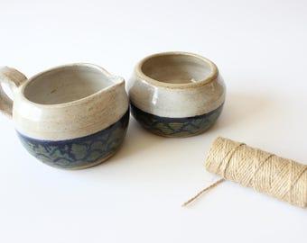 Stoneware Cream and Sugar Bowls Studio Pottery Hand Thrown Vintage 70's Boho Home Decor Bohemian Kitchen