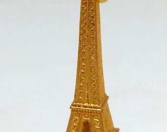 French Tourist Gold Tone Eiffel Tower Charm, Small Vintage Paris France Souvenir Jewelry