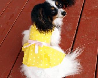Yellow Polka Dot Dog Dress / Pleated Dog Dress / Pet Clothes / Pet Dress / Summer Pet Dress / Dog Sun Dress / Yellow Pet Dress