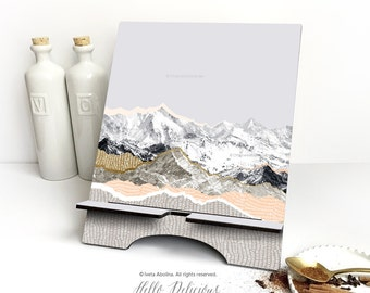 """iPad Stand Large, """"Pastel Mountains"""" by I. Abolina, Mountain iPad Mini Stand, Docking Stand Samsung, Smartphone Stand, Cookbook Stand 29."""