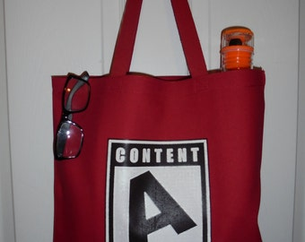 """Red Distressed Video Game """"A"""" is for Awesome Heavy Duty Canvas Tote Bag"""