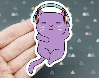 Headphones Sticker, Cat Headphones Sticker, Cat Listening To Music Vinyl Sticker, Laptop Sticker, Rave Cat Sticker, Cat Lover Sticker