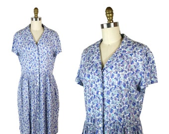 1980s Purple Violets Shirt Dress / Vintage 80s Floral Day Dress