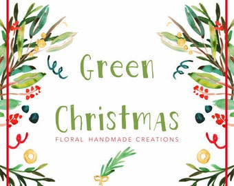 Floral Christmas Hand-painted Watercolor  Clipart // Watercolor Digital Art//Christmas// Christmas branch//Confetti//