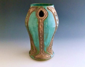 Handmade Ceramic Vase With Carved and Incised Art Nouveau Pattern Wheel-thrown by NorthWind Pottery