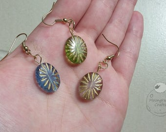 Czech Glass Gold Inlay Ovals - 3 Colours