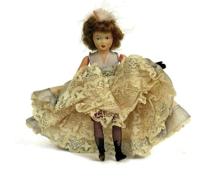 Vintage Souvenir French Can Can Doll. Made in Paris France by Roger Marvel.