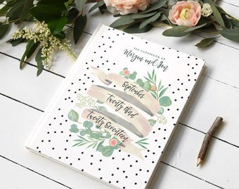 "Floral Romantic Guest Book - Custom Watercolor Garden Wedding Guestbook - Boho Dots and Ivory Guestbook - Personalized Guestbook - 8"" x 10"""