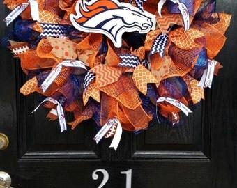 Large Burlap Wreath Denver Broncos Orange Crush Blue Football Mesh Ribbon
