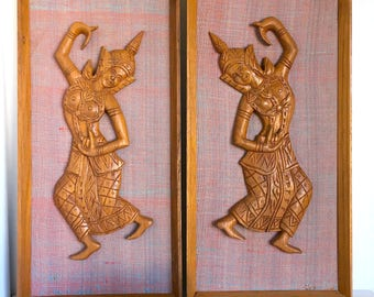 Mid Century Thai Siam Wood and Fabric Wall Hangings